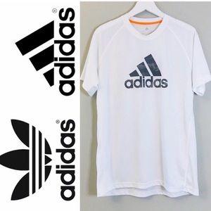 Adidas White Logo Climalite Short Sleeve Tee Large